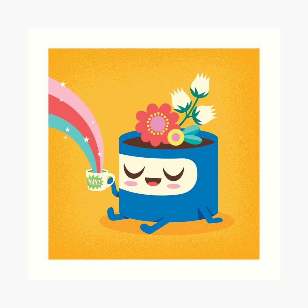 Flower Pot Head and Magic Tea Art Print