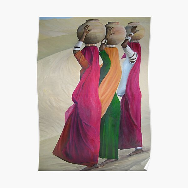 women carrying water Poster