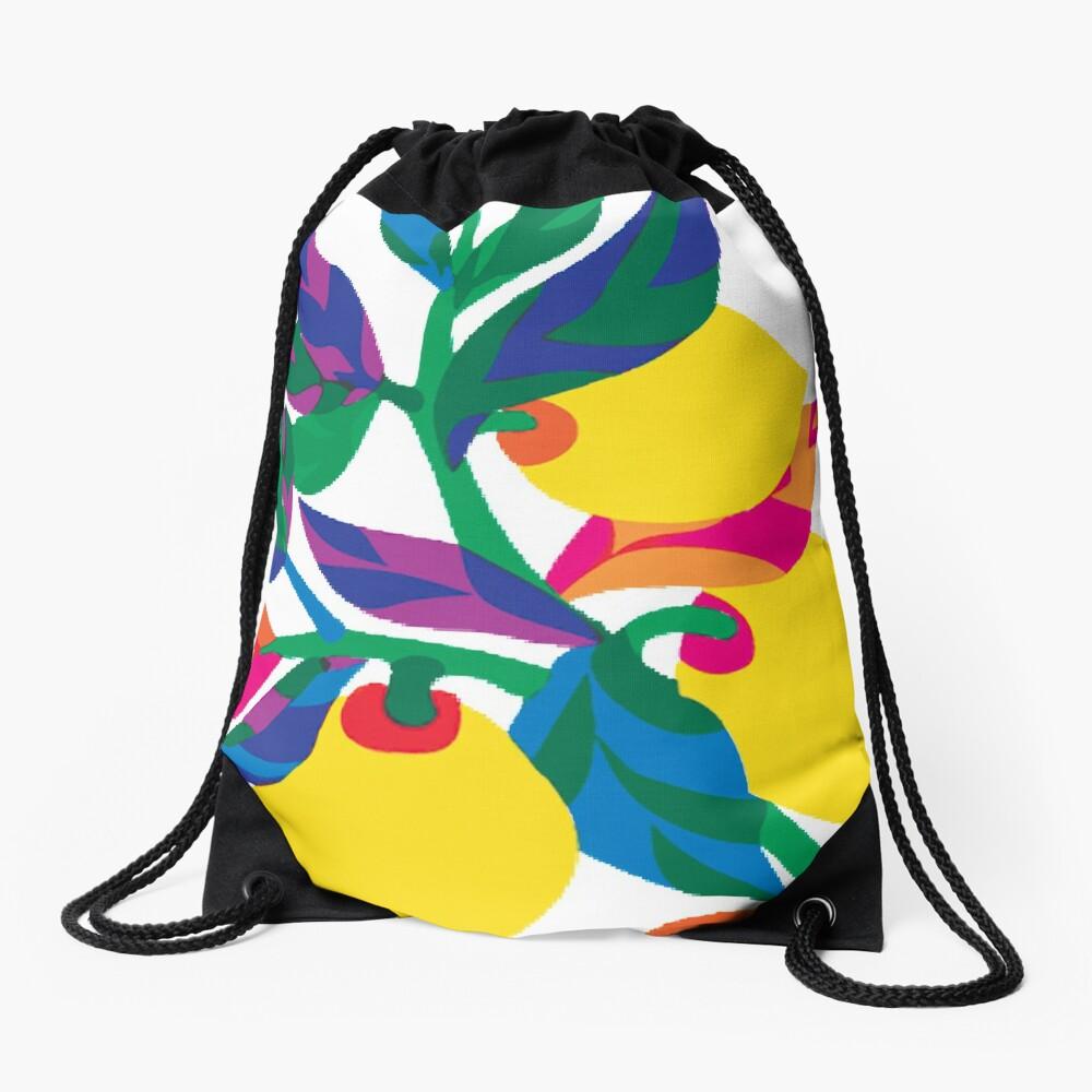 Lemon Abstract Print Drawstring Bag