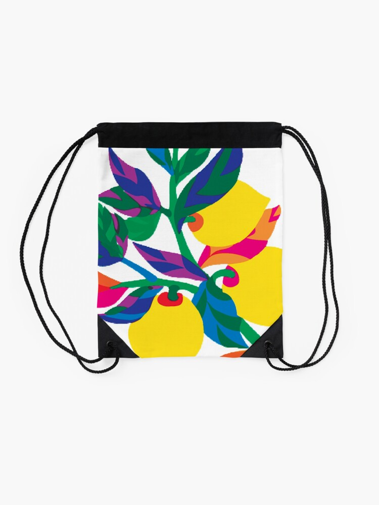 Alternate view of Lemon Abstract Print Drawstring Bag