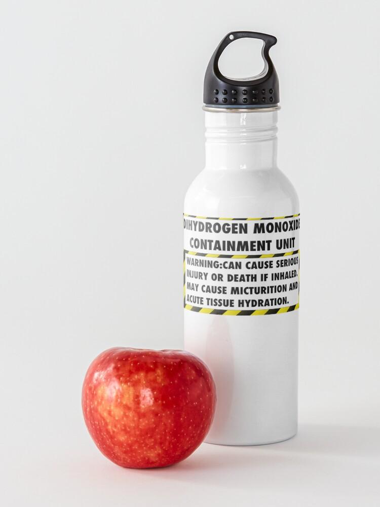 Alternate view of DIHYDROGEN MONOXIDE WARNING LABEL Water Bottle