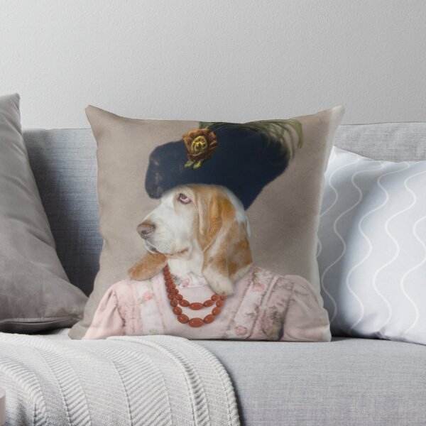 Basset Hound dogs dressed like the Queen. Throw Pillow