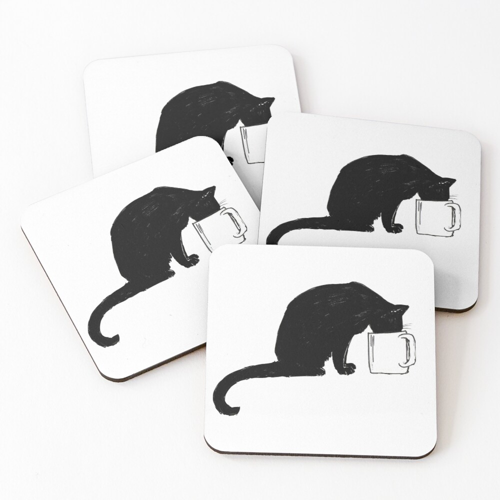 Cat in a Cup Coasters (Set of 4)