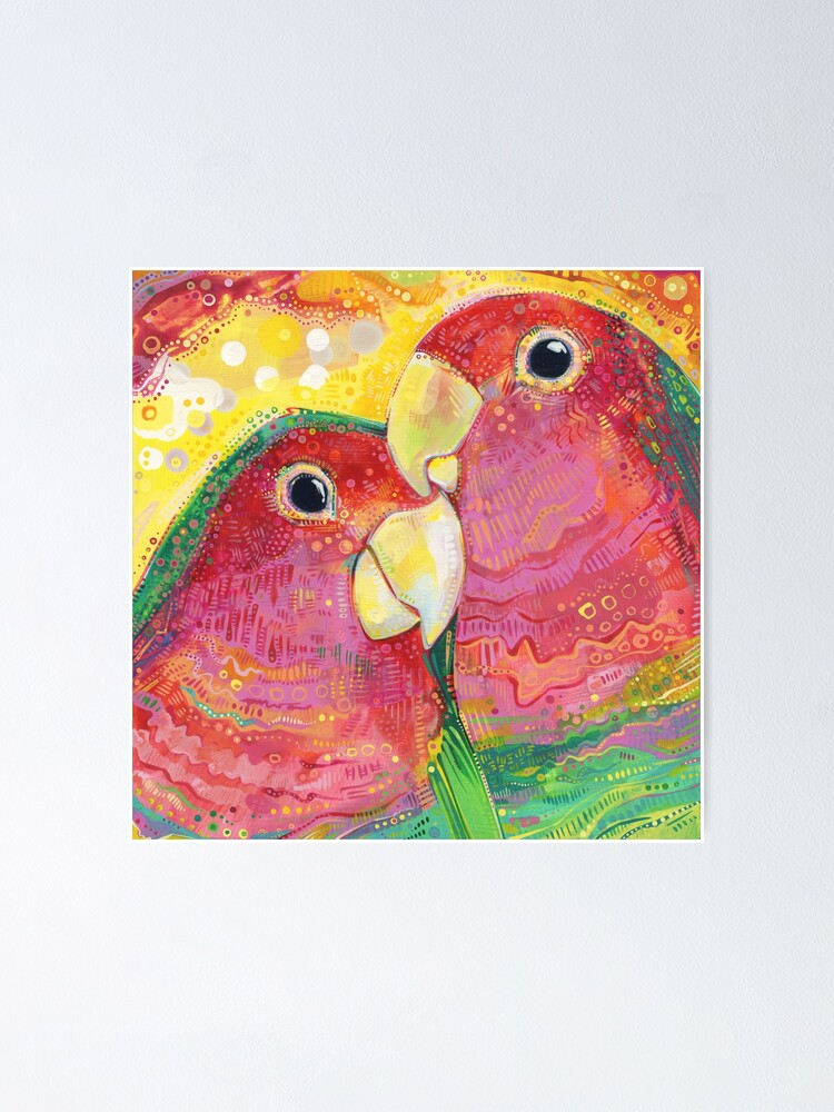 Alternate view of Peach-faced Lovebird Painting - 2012 Poster