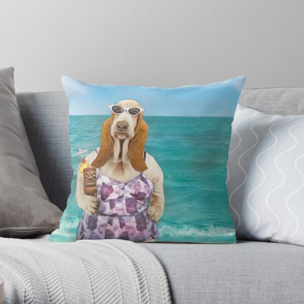 Basset Hound on the beach dressed up in a bathing suit. Throw Pillow