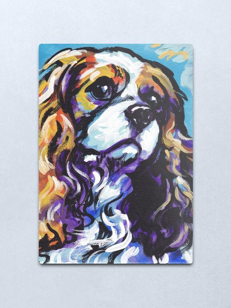 Alternate view of cavalier king charles spaniel Dog Bright colorful pop dog art Metal Print