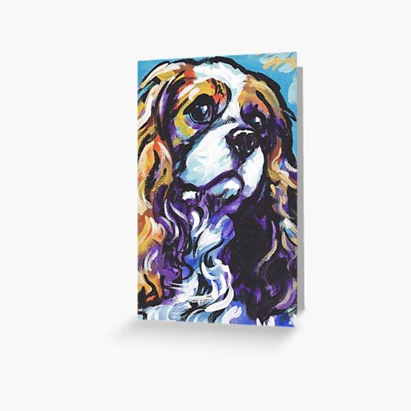 cavalier king charles spaniel Dog Bright colorful pop dog art Greeting Card