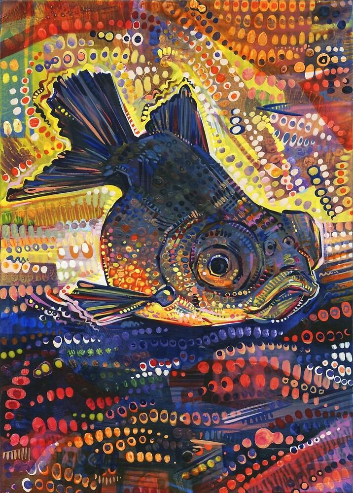 Black Telescope Goldfish Painting - 2016 by Gwenn Seemel