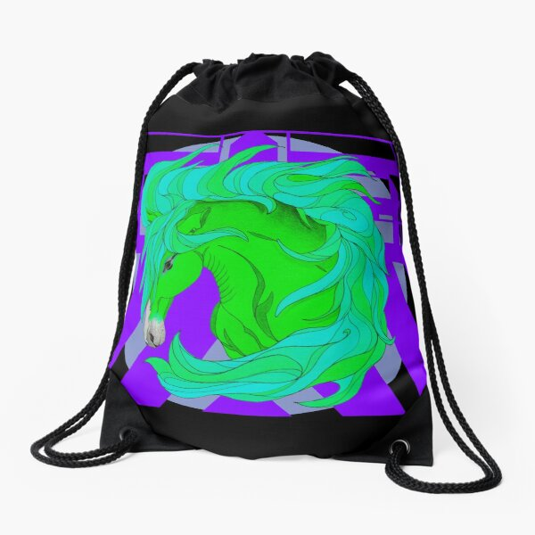 Wild Horse Green Drawstring Bag