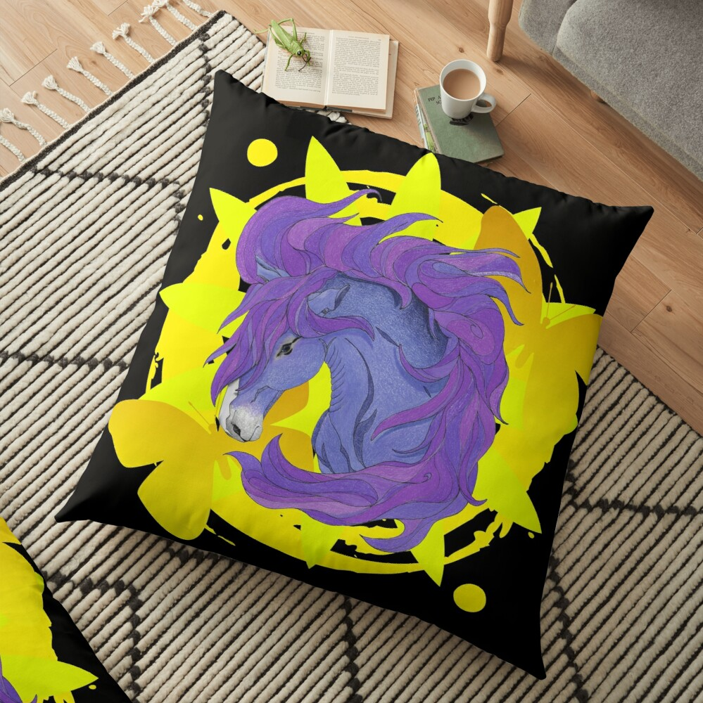 Wild Horse Purple Floor Pillow