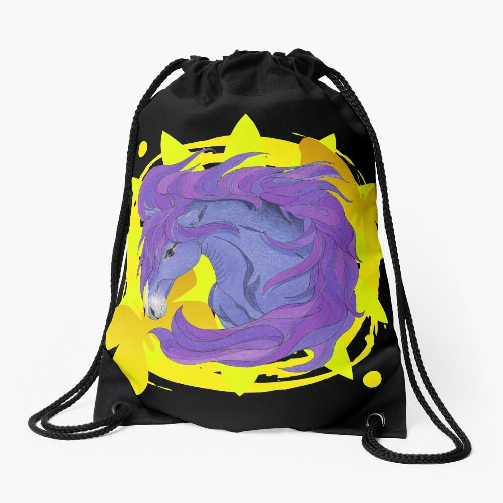 Wild Horse Purple Drawstring Bag