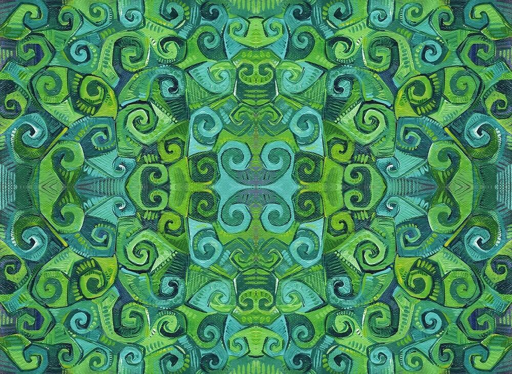 Green Swirls Abstract Painting - 2016 by Gwenn Seemel