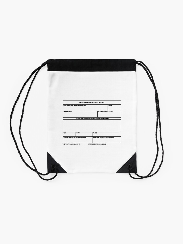 Alternate view of USAF Form 341 - Excellence/Discrepancy Report Drawstring Bag