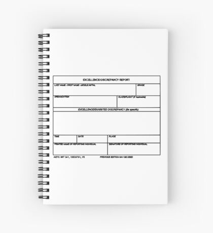USAF Form 341 - Excellence/Discrepancy Report Spiral Notebook