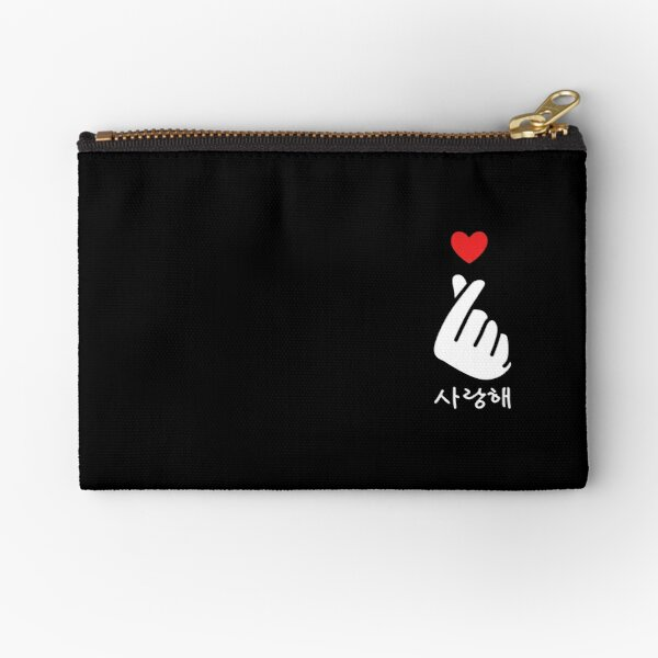 Saranghae K-Pop Finger Heart Pocket Korean Love Hangul Zipper Pouch