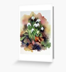 Snowdrops and Fallen Leaves Greeting Card