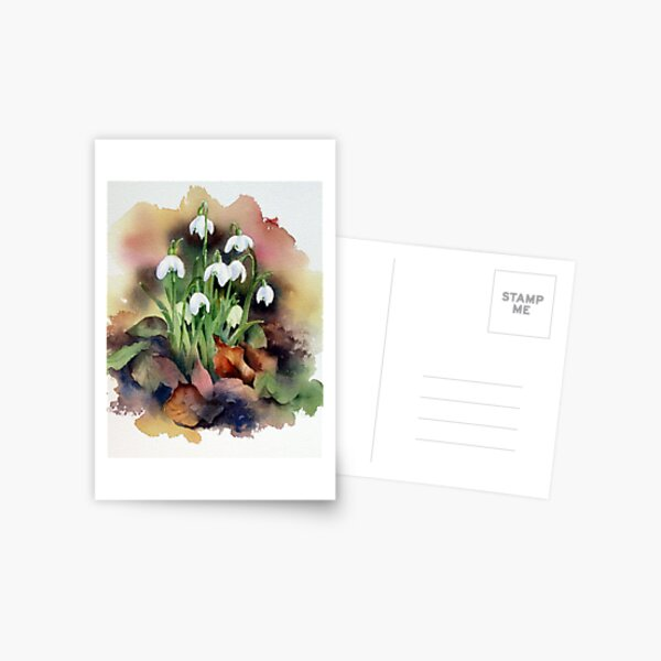 Snowdrops and Fallen Leaves Postcard