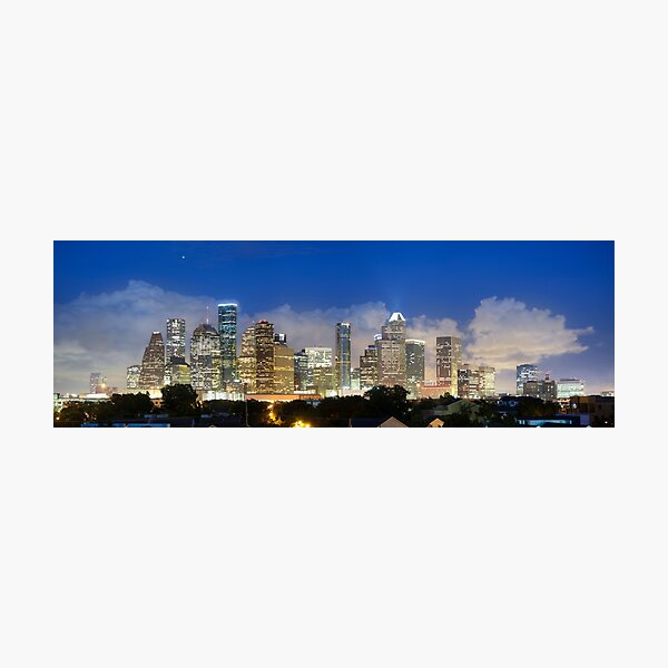 Houston Skyline Panorama with Storm Clouds looming over Downtown Photographic Print