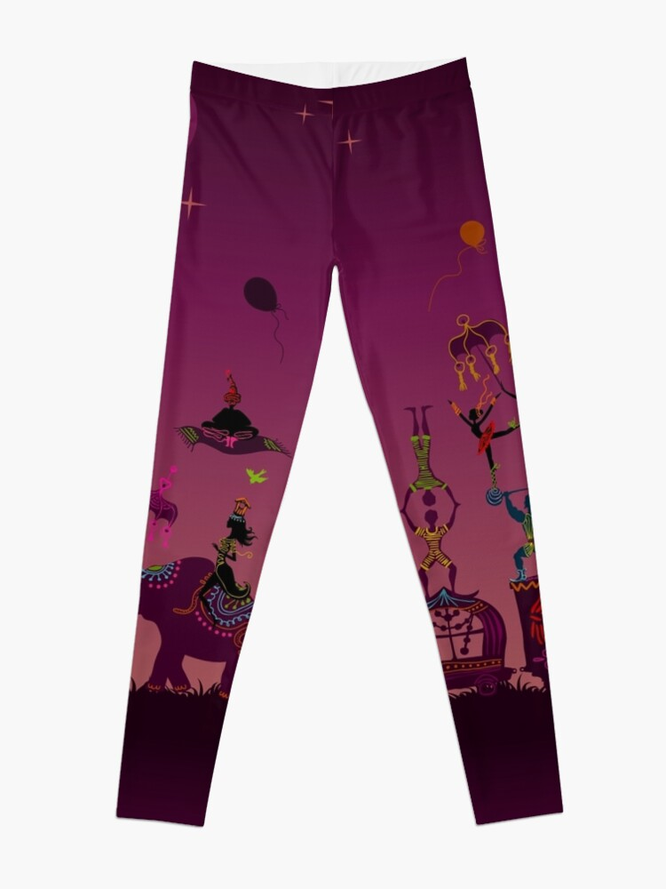 Alternate view of colorful circus carnival traveling in one row at night Leggings