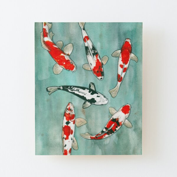 Le ballet des carpes koi Wood Mounted Print