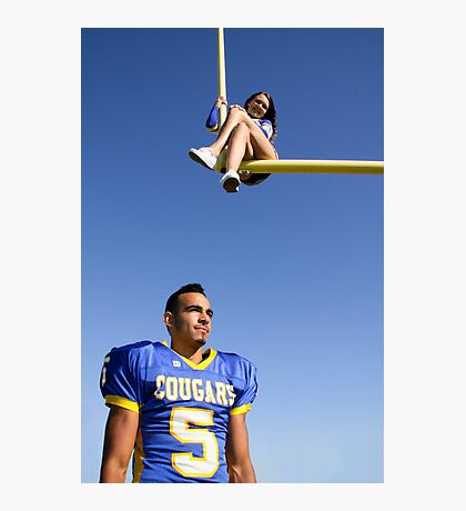 Cheerleader and Football Player Photographic Print