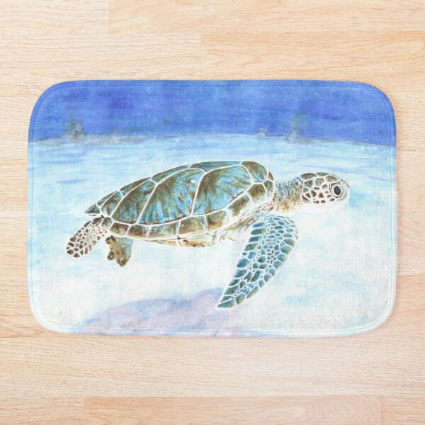Sea turtle underwater Bath Mat