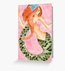 Cute Green Tail Jasmine Mermaid Greeting Card