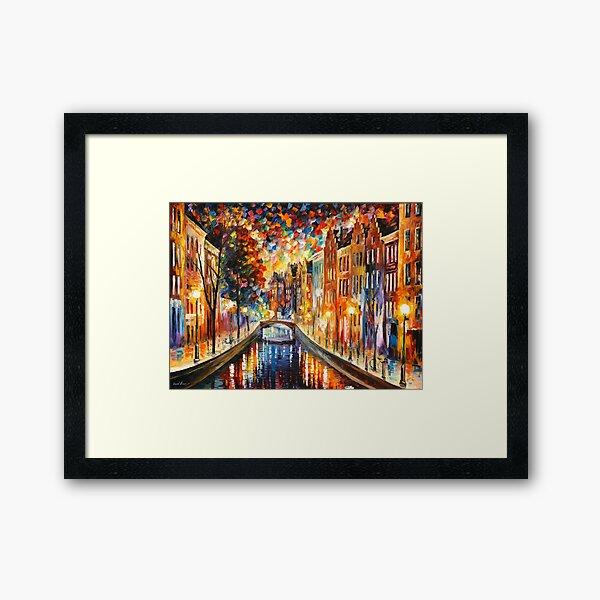 AMSTERDAM - NIGHT CANAL - Leonid Afremov Framed Art Print