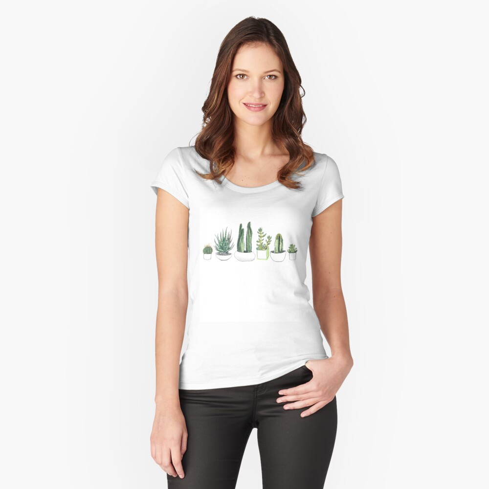 Watercolour cacti & succulents Fitted Scoop T-Shirt