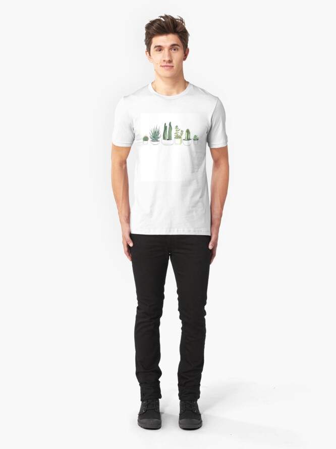 Alternate view of Watercolour cacti & succulents Slim Fit T-Shirt