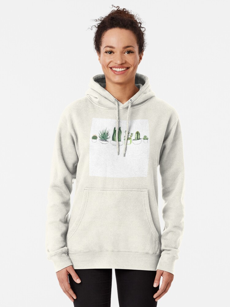 Alternate view of Watercolour cacti & succulents Pullover Hoodie