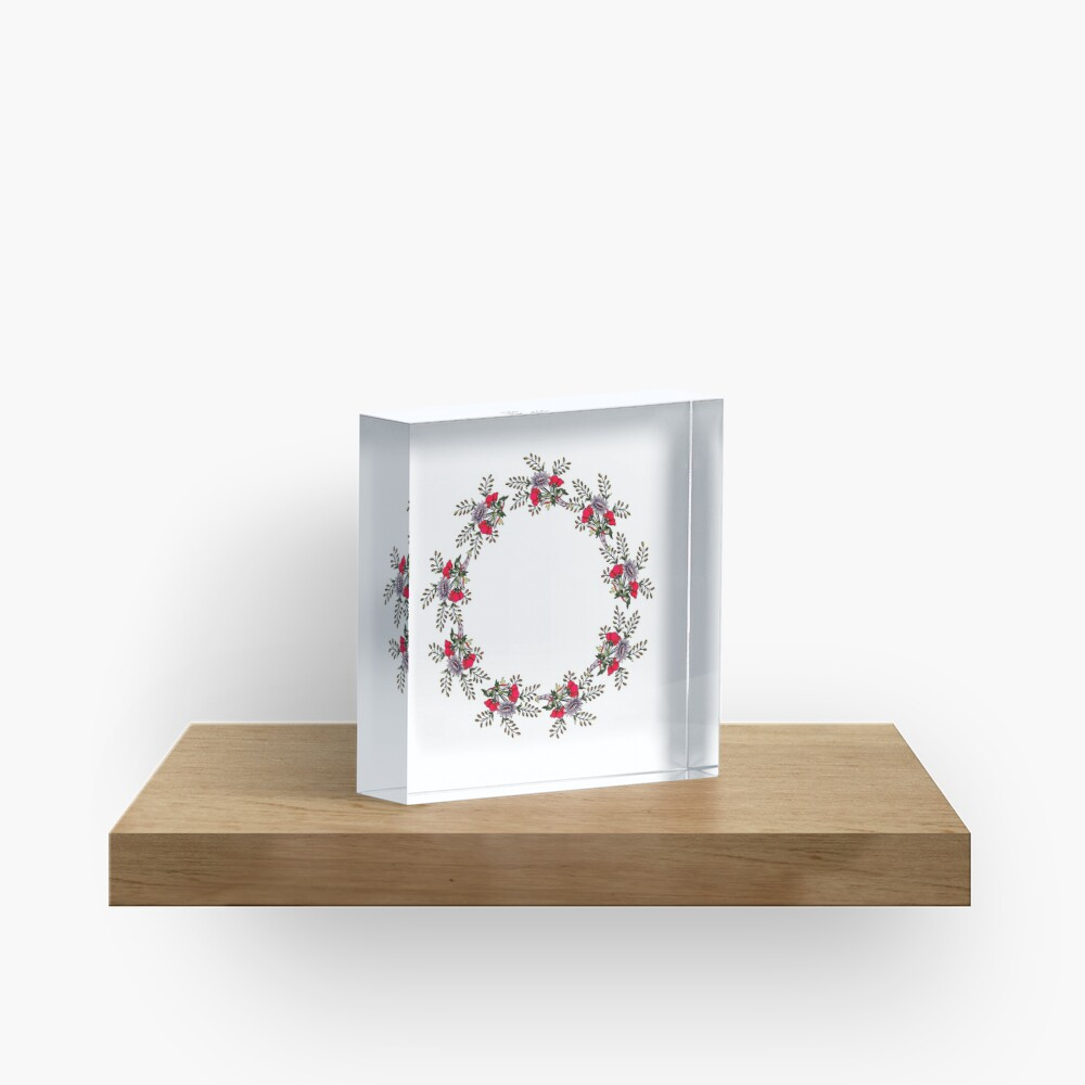 Flowers and leaves wreath Acrylic Block