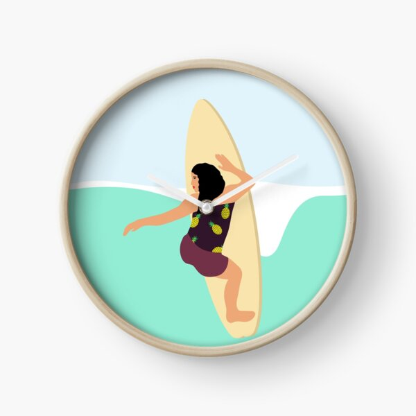 Beautiful girl surfs on the waves Clock