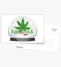 Postales Merry Christmas Marijuana Snow Globe