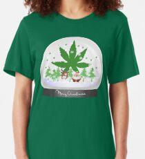 Merry Christmas Marijuana Snow Globe Slim Fit T-Shirt