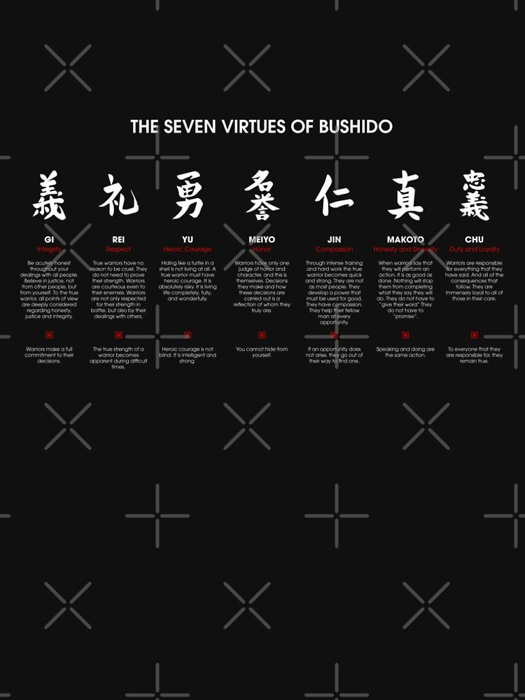 Las 7 virtudes de Bushido (texto blanco) de DCornel