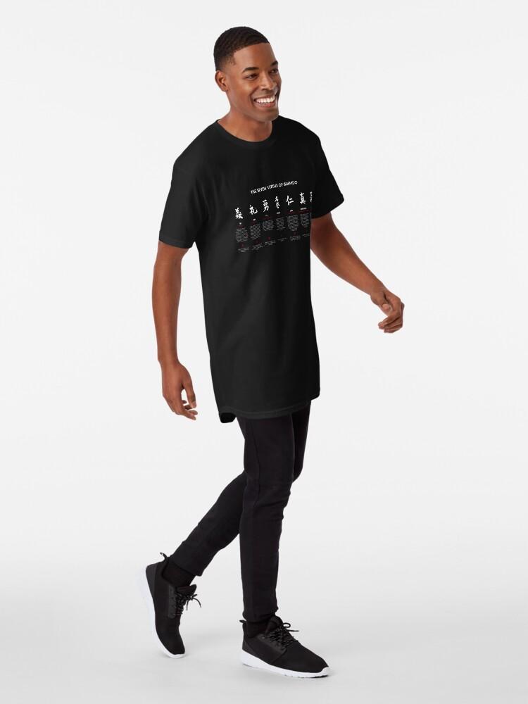 Vista alternativa de Camiseta larga Las 7 virtudes de Bushido (texto blanco)