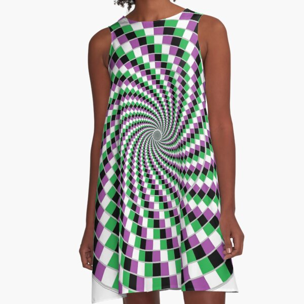 #Graphic #Design, Optical #Art: Moving Pattern Illusion - #OpArt  A-Line Dress