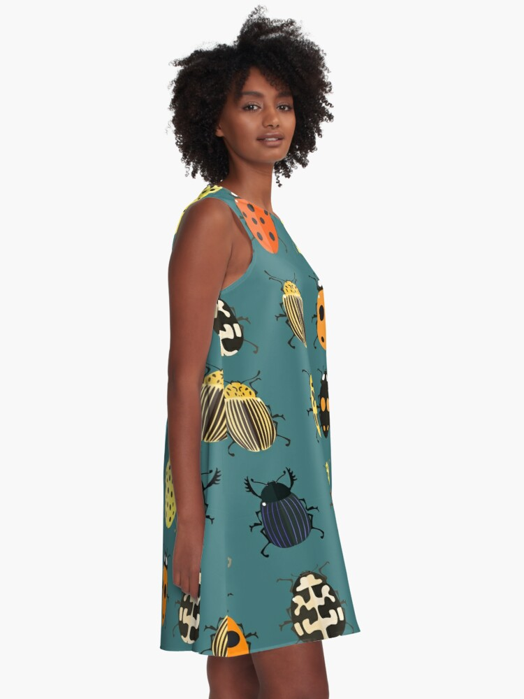 Alternate view of Cute bugs. A-Line Dress