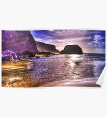 Sea & cliffs in HDR Poster