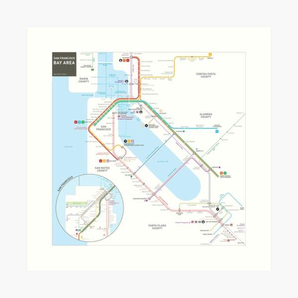 San Francisco Bay Area Transit Map Art Print