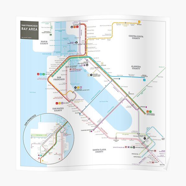 San Francisco Bay Area Transit Map Poster
