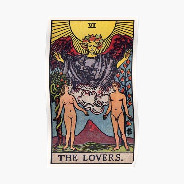Rendu haute résolution du style traditionnel Rider-Waite.  La carte des amoureux montre un homme et une femme nus debout sous l'ange Poster