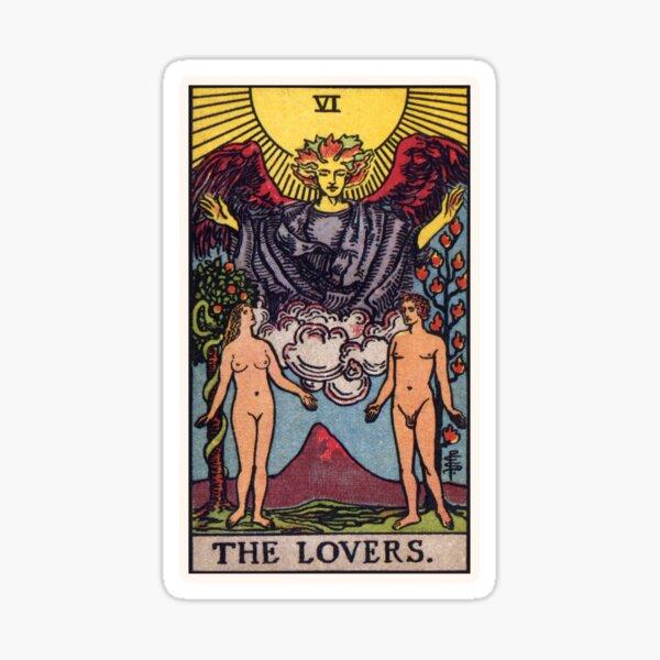Representación de alta resolución del estilo tradicional Rider-Waite.  La tarjeta de los amantes muestra a un hombre y una mujer desnudos de pie debajo del ángel. Pegatina