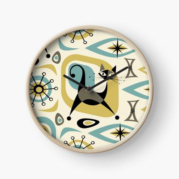 Mid Century Cat Abstract Clock