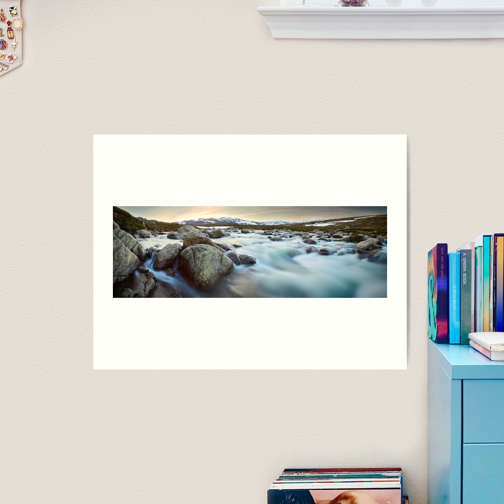 Snowy River Sunset, Mt Kosciuszko, New South Wales, Australia Art Print