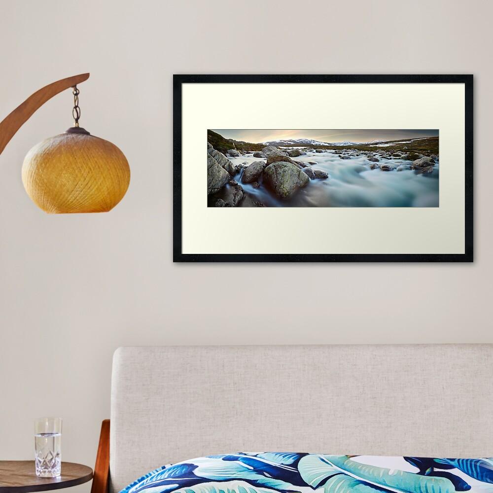 Snowy River Sunset, Mt Kosciuszko, New South Wales, Australia Framed Art Print