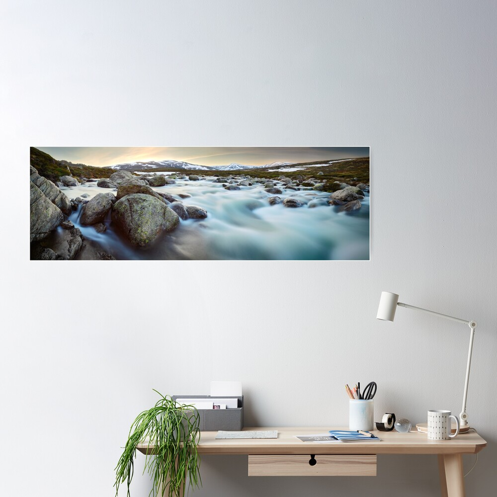 Snowy River Sunset, Mt Kosciuszko, New South Wales, Australia Poster