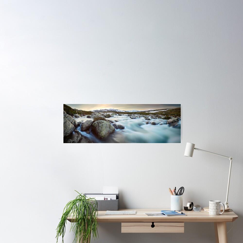 Snowy River Sunset, Mt Kosciuszko, New South Wales, Australia Poster