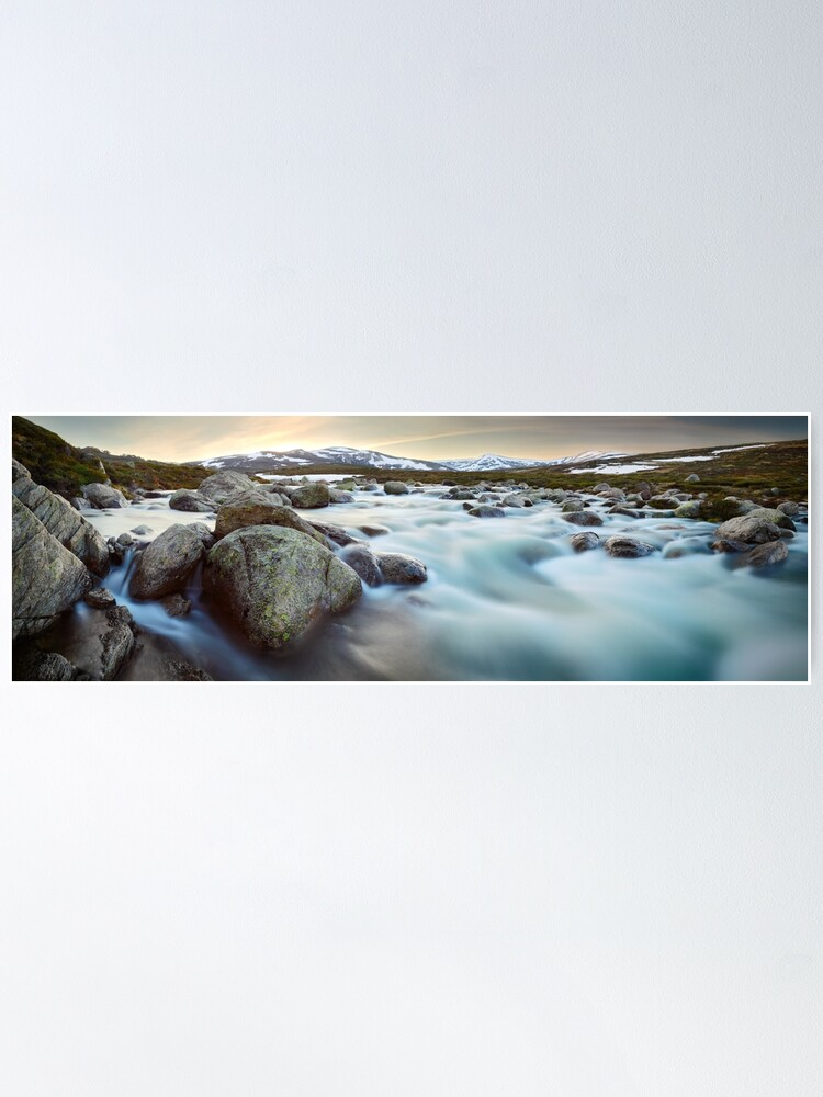 Alternate view of Snowy River Sunset, Mt Kosciuszko, New South Wales, Australia Poster